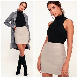 NWT Warner beige fuzzy mini skirt from Lulus